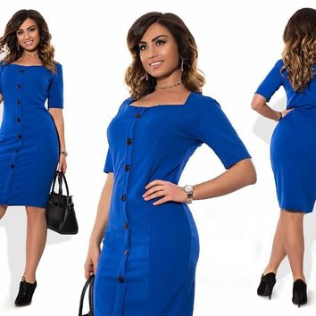 5XL 6XL Large Size 2017 Summer Dress Big Size Blue Red Black Bodycon Dress Work Office Dresses Plus Size Women Clothing Vestidos