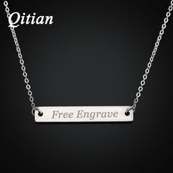 Bar Necklace Engraved in Stainless Steel Personalized Name Necklace Nameplate - Custom Made jewelry Any Name