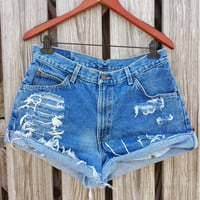 ULTRA HIGH WAISTED Denim Shorts - High Waist Jean Shorts - Shredded - Size 10 / 12