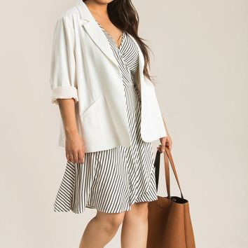 Plus Nellie Ivory Shirred Blazer