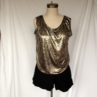 Vintage Gold and Black Polyester Tank Top / Wood / Medium M