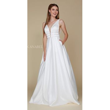 Off White V-Neck Long Prom Dress Sheer Cut Out with Pockets