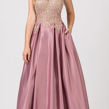 Halter Keyhole Neckline Long Prom Dress with Pockets Dusty Rose