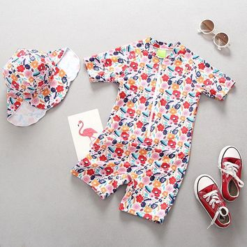 Cute Girls Swimsuit 2018 Children Camo Swimming Clothes Board Clothing Rush Guards Wetsuits for Girls Swimsuit UV Prodection