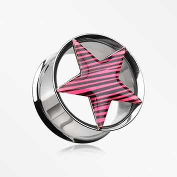 A Pair of Zebra Star Hollow Double Flared Steel Plug