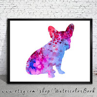 French Bulldog 3 Watercolor Print, Children's Wall, Art Home Decor, dog watercolor,watercolor painting, French Bulldog art,animal watercolor