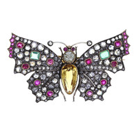 Late Victorian Topaz Fancy Diamond Emerald and Ruby Butterfly Brooch