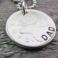 DAD COIN Necklace Canadian Quarter Jewelry Charm Gift For A Man Caribou Elk Antlers Wildlife Canada Hand Stamped Optional Stamping Available