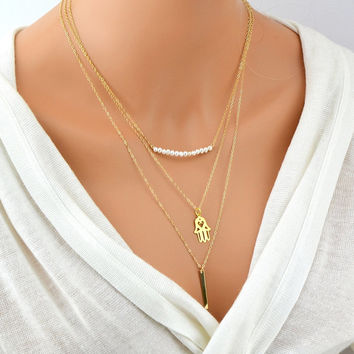 GOLD LAYERED NECKLACE, Layered Necklace Set, Three Layer Necklace, 14k Gold Filled Bar, Gold Hamsa Necklace