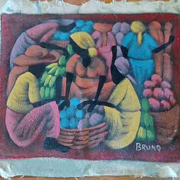 Vintage Haitian Painting / Modernist / Caribbean Art / Island Art / Market / Village / African / Folk Art / Signed Bruno / Unframed canvas