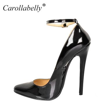 2017 New Big Size  Extra High Heels Women Pumps, High Quality Patent Leather Women Party Shoes,16cm Heels Pointed Toe Pumps