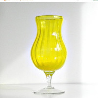 SALE Mid Century Modern Empoli Glass Vase Made in Italy Lemon Yellow Art Glass Pedestal Vase