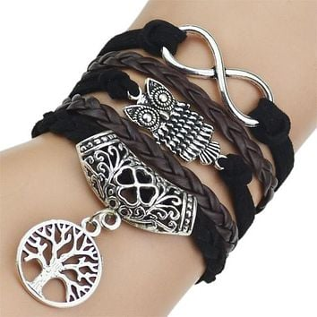 Womens Wisdom Sayings Leather & Silver Bracelets