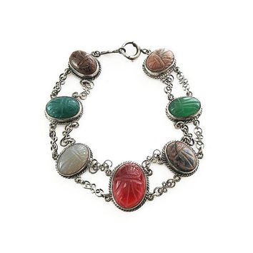 Art Deco Sterling Scarab Bracelet - Gemstone Bracelet, Carnelian, Tigers Eye, Chalcedony, Chrysoprase, Rhodonite, Art Deco Jewelry