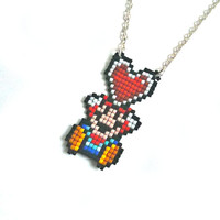 Super Mario Necklace,  Geek Jewelry, Geek, Geekery, Geek Necklace, Nerd Jewelry, Jewelry, geek gift, pendant, geek pendant
