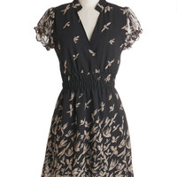 ModCloth Critters Mid-length Cap Sleeves A-line Birds of Play Dress