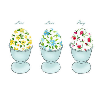 Personalized ART print, Easter eggs in egg cups,  retro fun illustration,Eastet, nursery decor, digital print, Cottage  chic