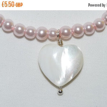 SALE Bracelet, Pink Pearls, Mother of Pearl Charm, Silver, Heart Shaped Clasp, bridesmaid, birthday, gift, modern, bridesmaid