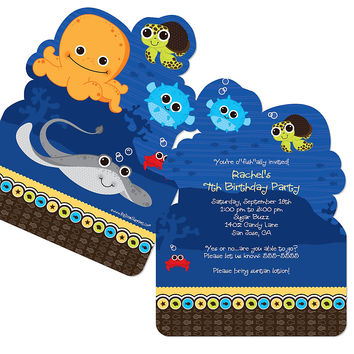 Under The Sea Critters - Shaped Birthday Party Invitations