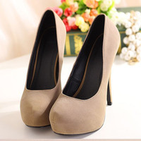 Women's New Vogue High Heel Platform Noble Suede Stylish Fashion Shoes Party 1mB