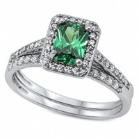 Jacky's .925 Sterling Silver Emerald Cut Emerald Green Cubic Zirconia Wedding Ring Set