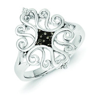 Sterling Silver White & Black Diamond Ring
