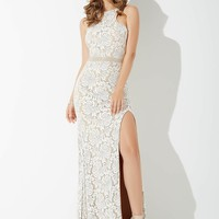 White Fitted Lace Dress JP35131