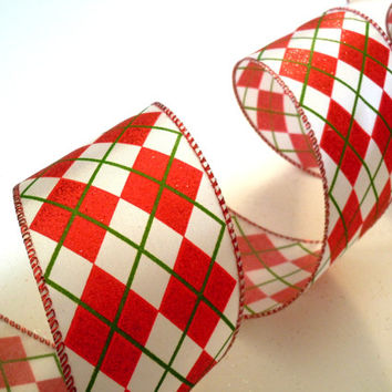 "wired Christmas ribbon decorations red green argyle Christmas tree ribbon Christmas Ribbon wreaths make garland gift wrap bow 2.5"" 5yd"