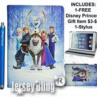 NEW! FROZEN iPad 2,3 or 4 Gift Set Faux Leather PVC Case with FREE Stylus