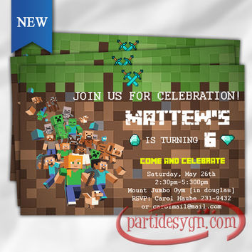 Minecraft - Birthday Invitation 3 - Digital File