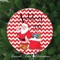 Chevron Santa Claus Personalized Christmas Ornament