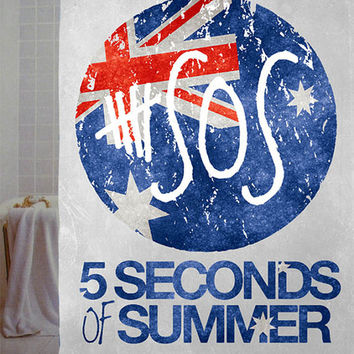 "5sos, 5sos logo Custom Shower Curtain available size 66"" x 72"", 60"" x 72"",48"" x 72"""