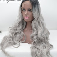 K'ryssma Half Hand Tied Synthetic Lace Front Gray Ombre Wig Black Roots Heat Resistant Fiber Hair 2 Tones Wavy 22 Inches