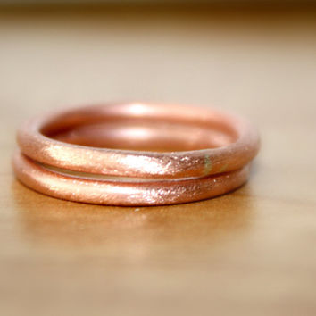 Handmade Pure Copper Rings, Brush Finish Round Copper Rings, Your size 0 -16, Copper Rings, Earthy Copper Rings