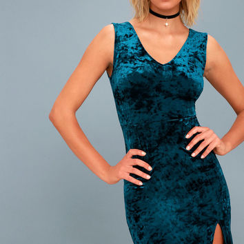 Dynamic Love Teal Blue Velvet Bodycon Midi Dress