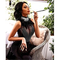 Celebrity High Quality Black Sleeveless Beading Feather Hollow Out Sexy Rayon Bandage Dress Evening Party Dress