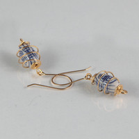 Chinese Beaded Earrings Dangle Dangly Gold White Blue French Hooks Stone Asian Jewelry Beads Handmade Wire Work Metalwork Boho Bohemian
