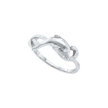 10kt White Gold Womens Round Diamond Dolphin Ring 1/20 Cttw 55834