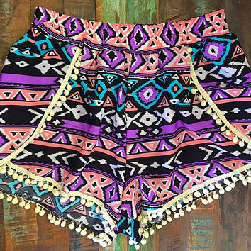 Purple,Black, & Pink Tribal Print Pom Pom Shorts