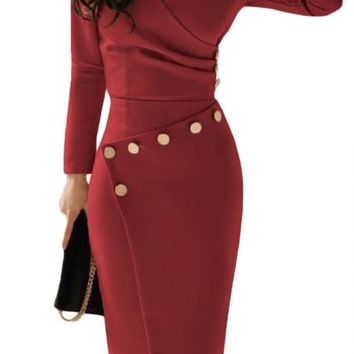 Chic Asymmetric Button Detail Burgundy Ruched Midi Dress