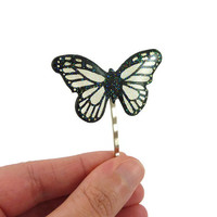 Transparent and black glittery butterfly bobby pin, fairytale hair pin, eco-friendly pixie painted plastic hair accessory (recycled CD)