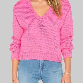 New Pink V-neck Long Sleeve Oversized Knitwear Loose Pullover Sweater