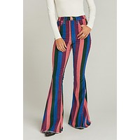 Multi-color Zip Up Striped Bell Jeans