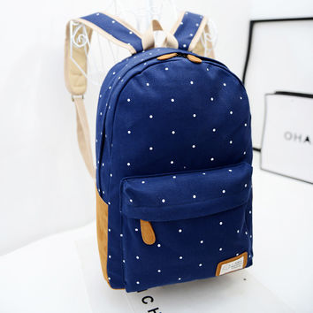 Polka Dot Candy Color Canvas Backpack School Bag