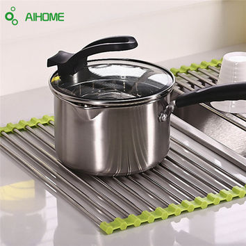 Multifunction Drain Rack Kitchen Shelf Draining Folding Sink Shelf Stainless Steel Dish Rack Drip Pad