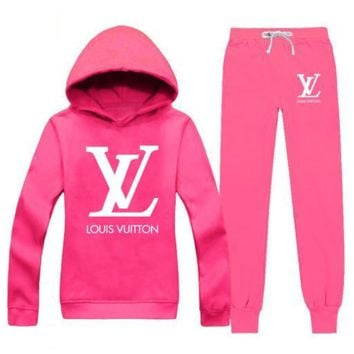 LV Casual Print Hoodie Top Sweater Pants Trousers Set Two-piece Sportswear     woman