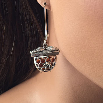 Sterling silver and Baltic Amber honeycomb earrings special design birthday gift bridal gift beekeeper eclectic hostess gift