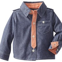 Kapital K Baby-Boys Newborn Button-Down Necktie Shirt, Blue Denim, 0-3 Months