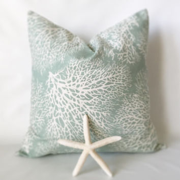 Aqua Coral Pillow Cover - One, 18 x 18, Beach Pillows, Nautical Pillows, Coral Pillows, Sea Coral, Aqua Pillows, Blue Nautical Pillow