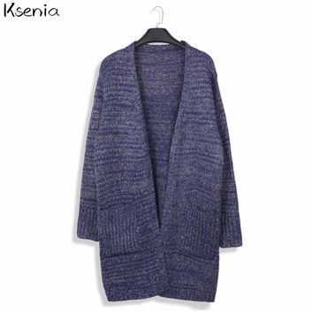 Ksenia Autumn Knitted Long Cardigans Women Wool Long Sleeve Cardigans Sweaters 2017 Spring Ladies Cardigan Poncho Female Outwear